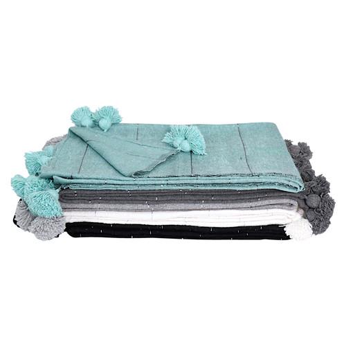 Moroccan Pom Pom Blanket / White