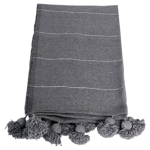 Moroccan Pom Pom Blanket/ Grey