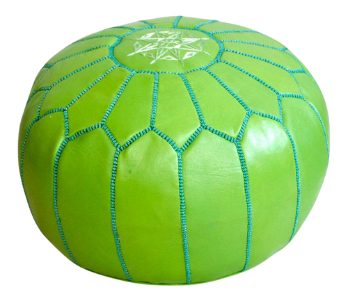 Moroccan Leather Pouf- Green
