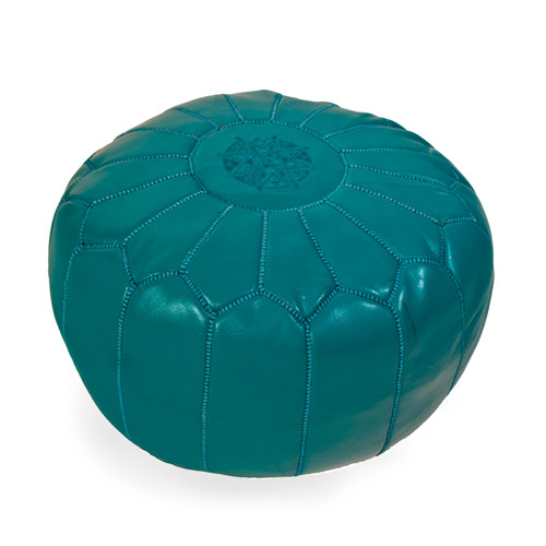 Moroccan Teal Leather Pouf