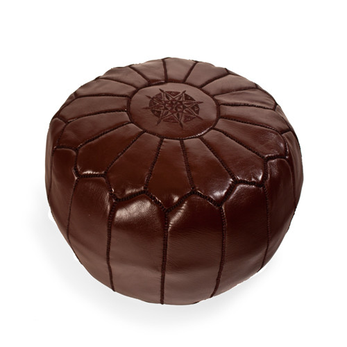 Moroccan Pouf Brown Leather