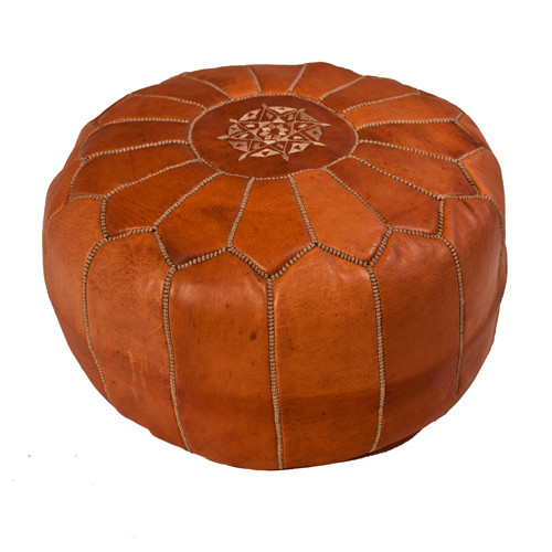 Moroccan Leather Pouf -Tan