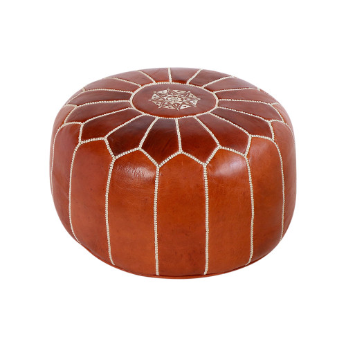 Moroccan Tan Leather Pouf