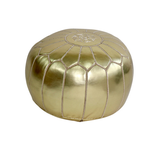 Moroccan Gold Leather Pouf