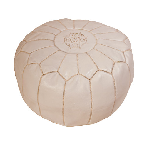 Moroccan Leather Pouf- White