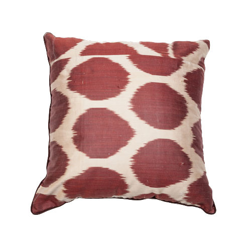 Ikat Pillow, Brown Dots