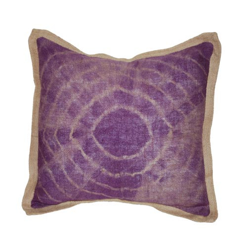 Tie dye purple burlap pillow