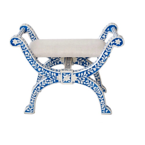 Bone Inlaid Regency Stool, Blue