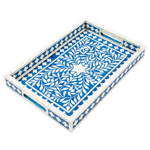 Indian Bone Inlaid Tray, Blue