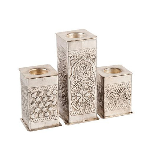 Moroccan Silver candle Holder