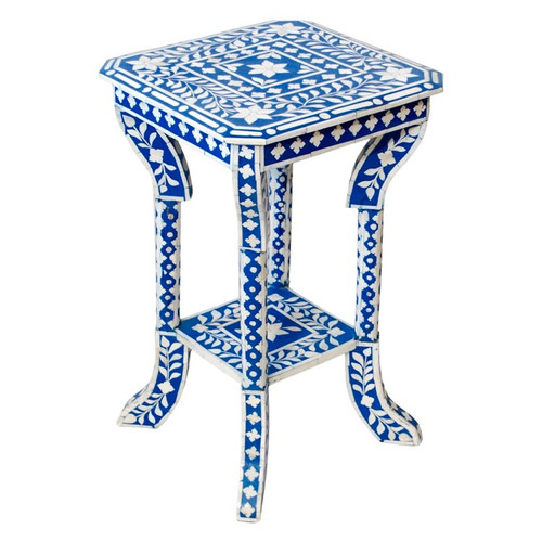 Indian Bone Inlaid Side Table, Blue