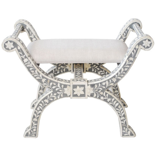 Indian Bone Inlaid Regency Stool - Grey
