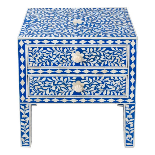 Indian Bone Inlaid Nightstand Table