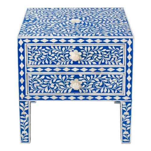 Blue Bone Inlay Nightstand Table