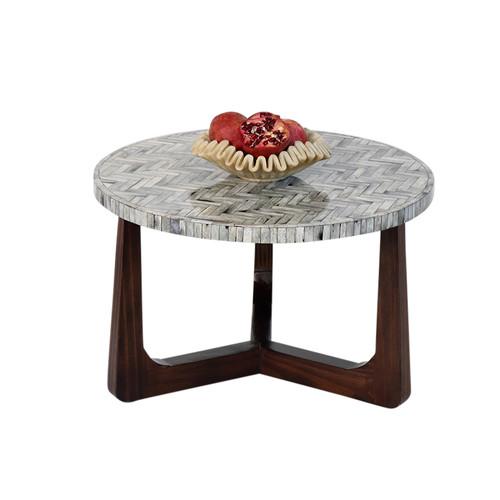 "R70 Bone Inlay Coffee Table, Gray 30"""