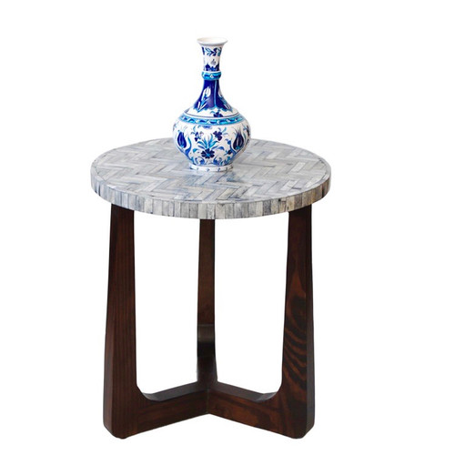 R70 Bone Inlay Side Table, Gray