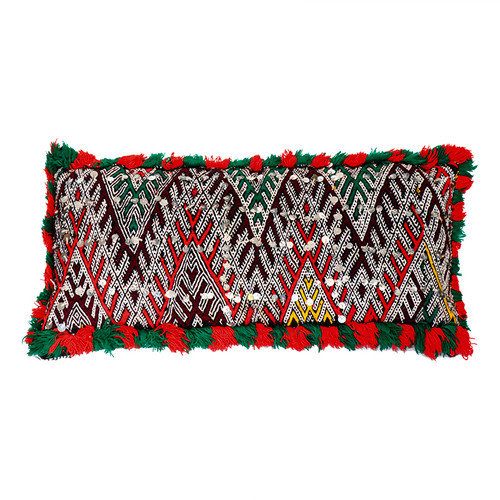 Moroccan Berber Pillow- Red and Green