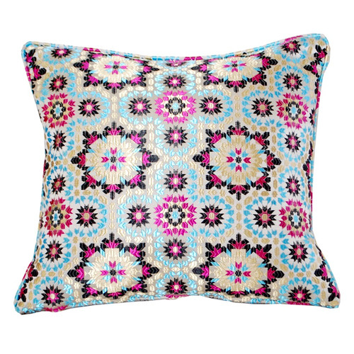 Moroccan Zellij Fabric Throw Pillow , Blue