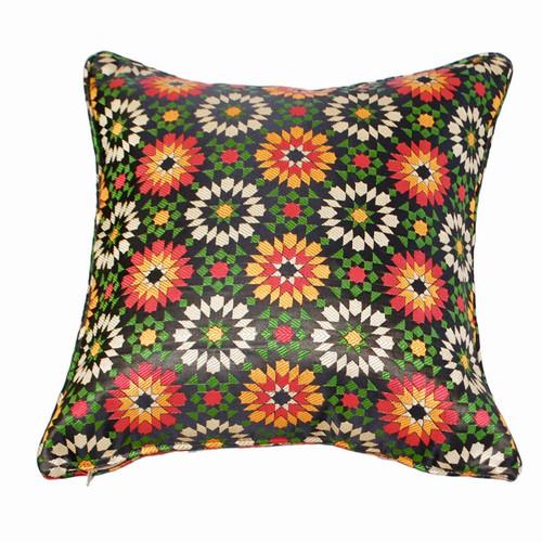 Moroccan Zellij Fabric Throw Pillow , Black