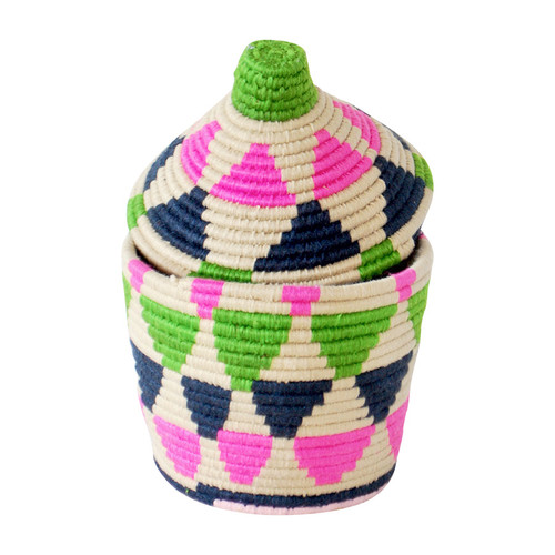 Moroccan Bread Basket, Pink and Green
