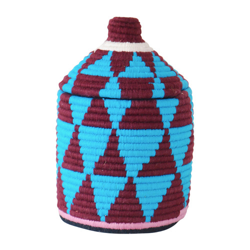 Moroccan Bread Basket, Blue & Plum