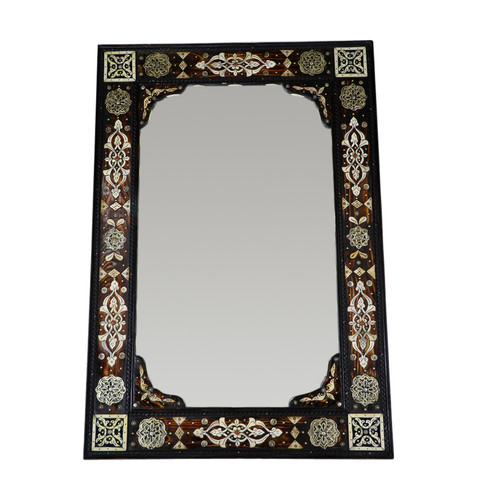 Moroccan Bone Inlay & Metal Mirror