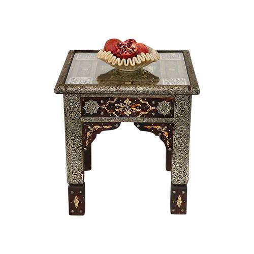 Moroccan Bone Inlay & Metal Table
