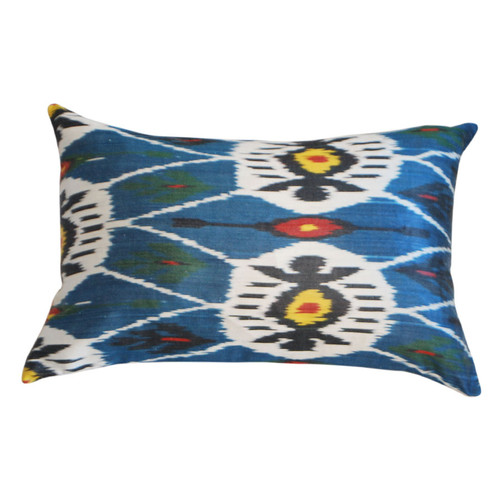 Silk Ikat Blue Pillow