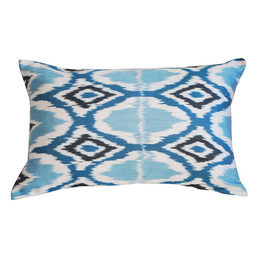 Blue & White  Silk Ikat Pillow