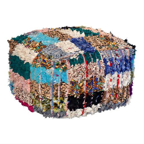 Boucherouite Rug Ottoman - Teal