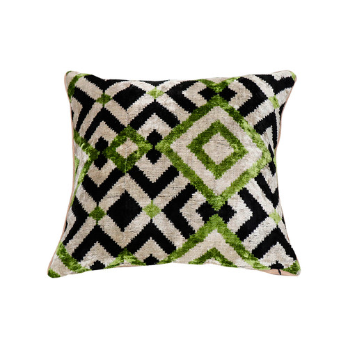 Velevt Ikat Pillow- Mosaic Design