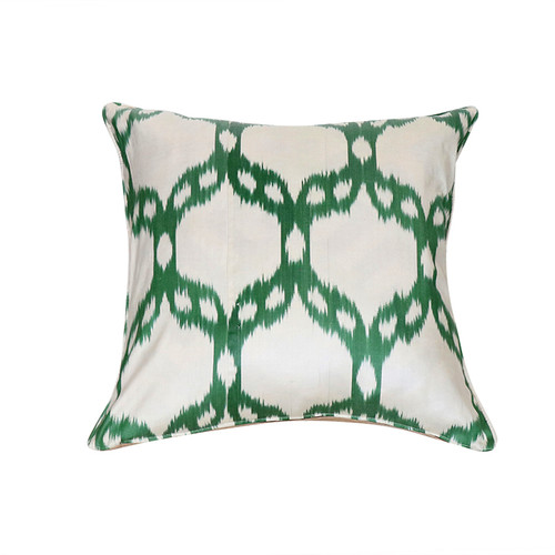 Ikat Pillow- Green Mosaic