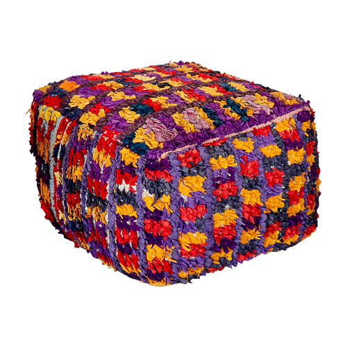 Boucherouite Rug Ottoman - Purple and Yellow