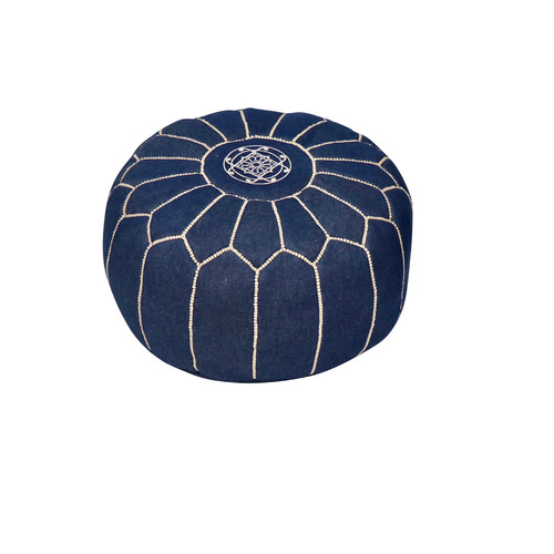 Moroccan Denim Leather Pouf- Olya White
