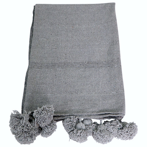 Moroccan Pom Pom Blanket / Light Grey