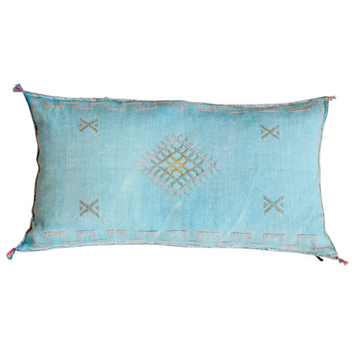 Moroccan Sabra Pillow- Aqua Blue