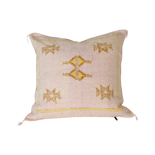 Moroccan Sabra Throw Pillow, Cream
