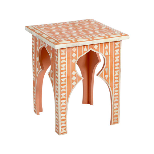 Luna Bone Inlay Stool - Orange