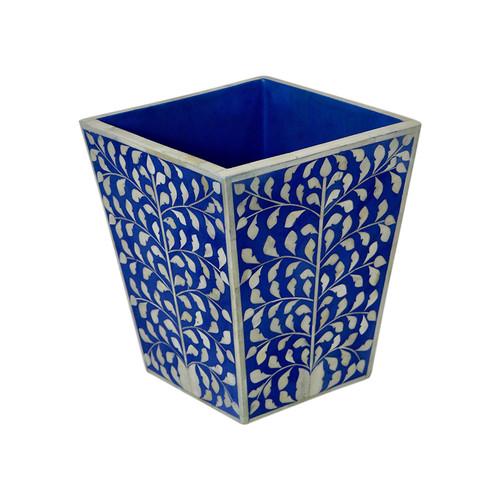 Luba Bone Inlaid Waste Basket