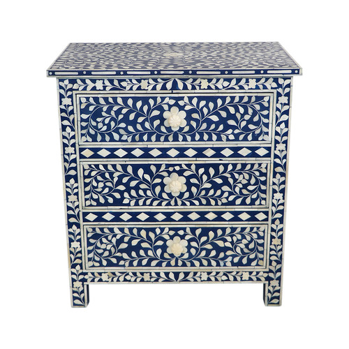 Bone Inlay 3 Drawer Bedside- Floral