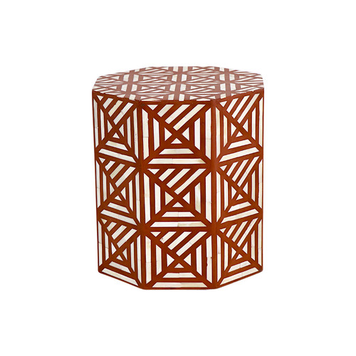 Geometric Bone Inlay Drum Table