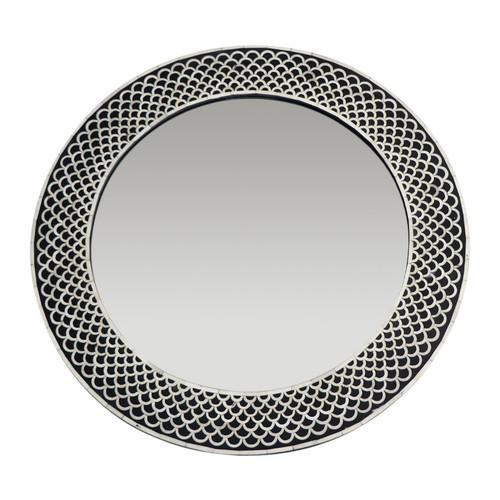 Rita Round Bone Inlay Mirror