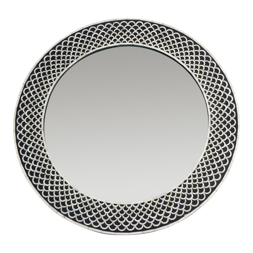 Rita Round Bone Inlay Mirror