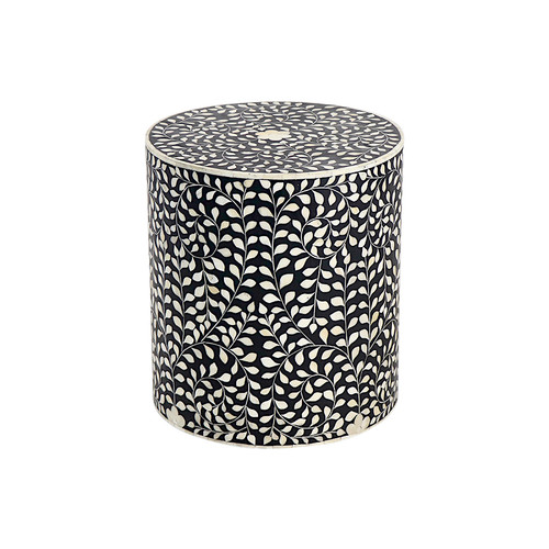 Bone Inlay Drum Table
