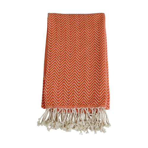 Zig Zag  Turkish Organic Cotton Towel- Orange
