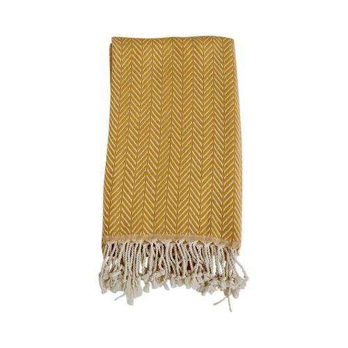 Zig Zag  Turkish Organic Cotton Towel- Yellow