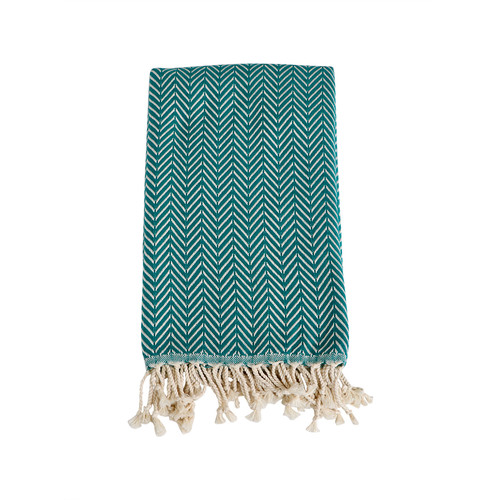 Zig Zag  Organic Cotton Turkish Towel- Teal