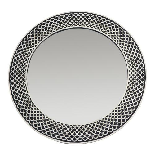 Black Round Bone Inlay Mirror