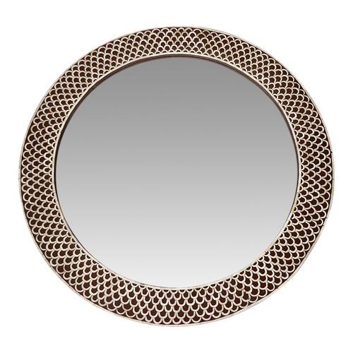 Brown Round Bone Inlay Mirror