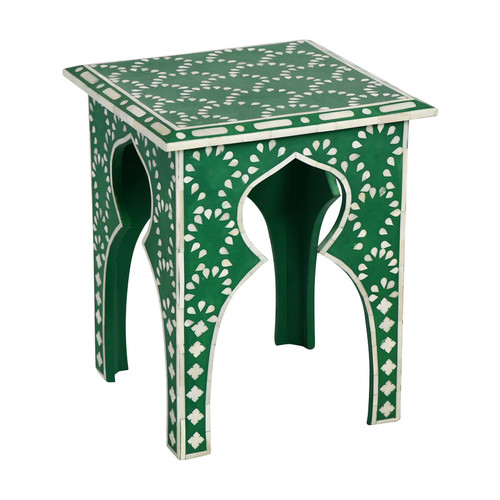 Green Bone Inlay Side Table